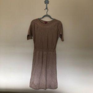 Brown short sleeve sweater dress